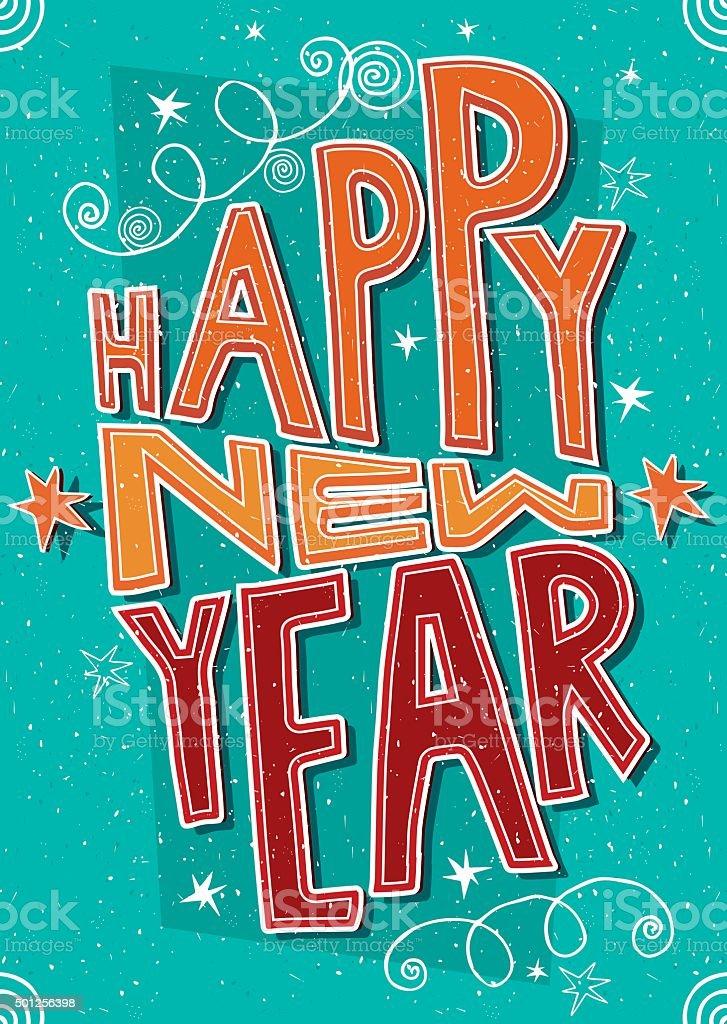 Handmade postcard Happy New Year vector art illustration