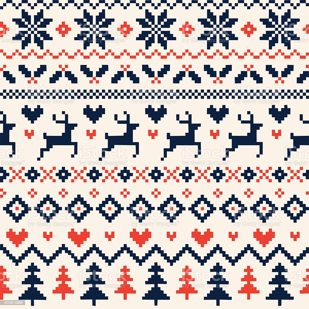 Handmade Seamless Christmas Pattern with Reindeer, Hearts, Christmas Trees and Snowflakes vector art illustration