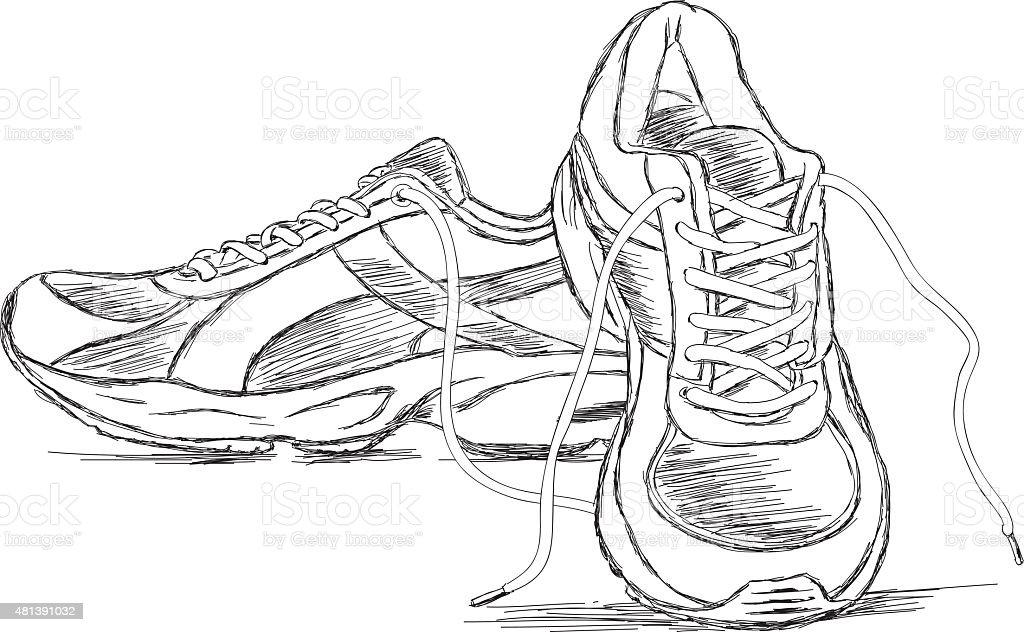 Handmade Sneakers Sports Shoe Vector Sketch Illustration vector art illustration