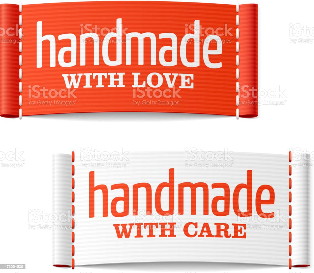 Handmade with love and care labels vector art illustration