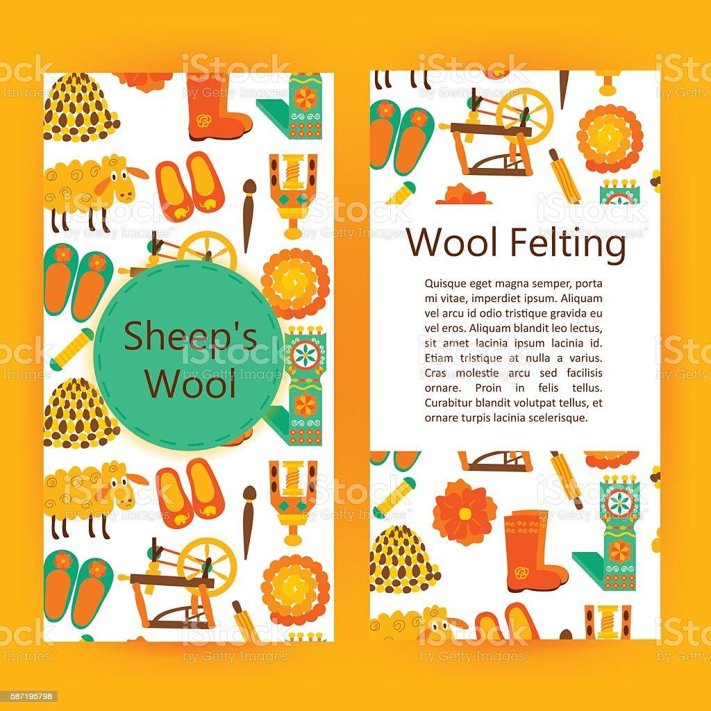 Handmade wool products brochure template vector art illustration