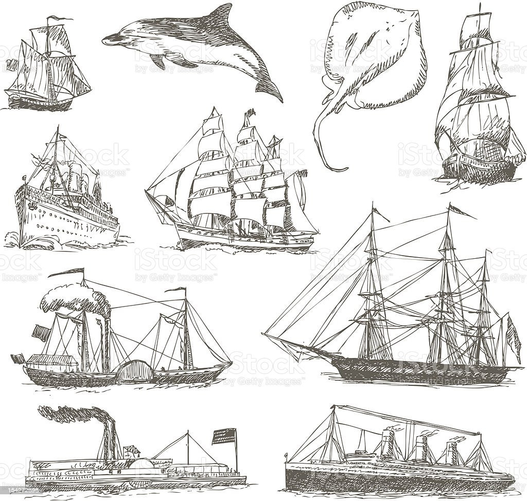 handmade work - ship royalty-free stock vector art