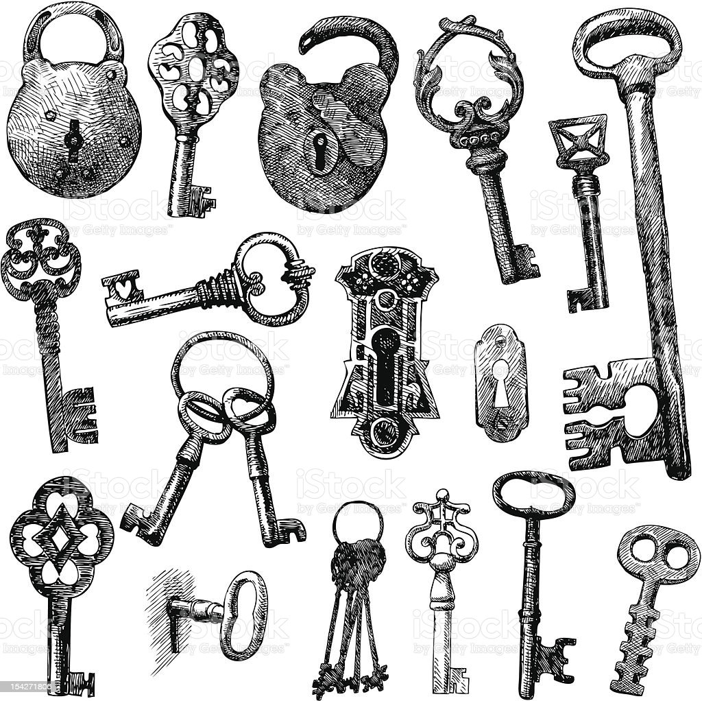 handmade work - vintage key royalty-free stock vector art