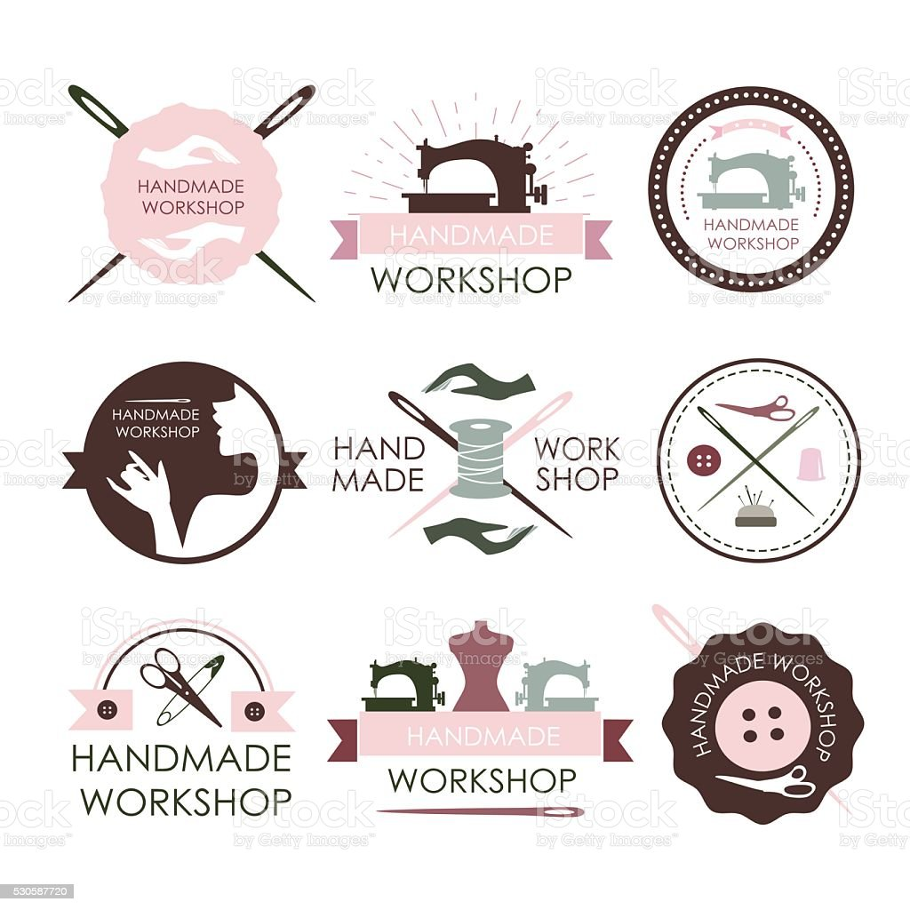 Handmade workshop logo vintage vector art illustration