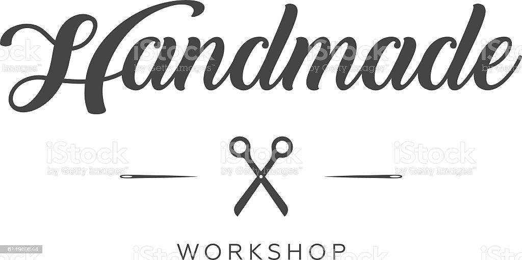 Handmade workshop logo vintage vector vector art illustration