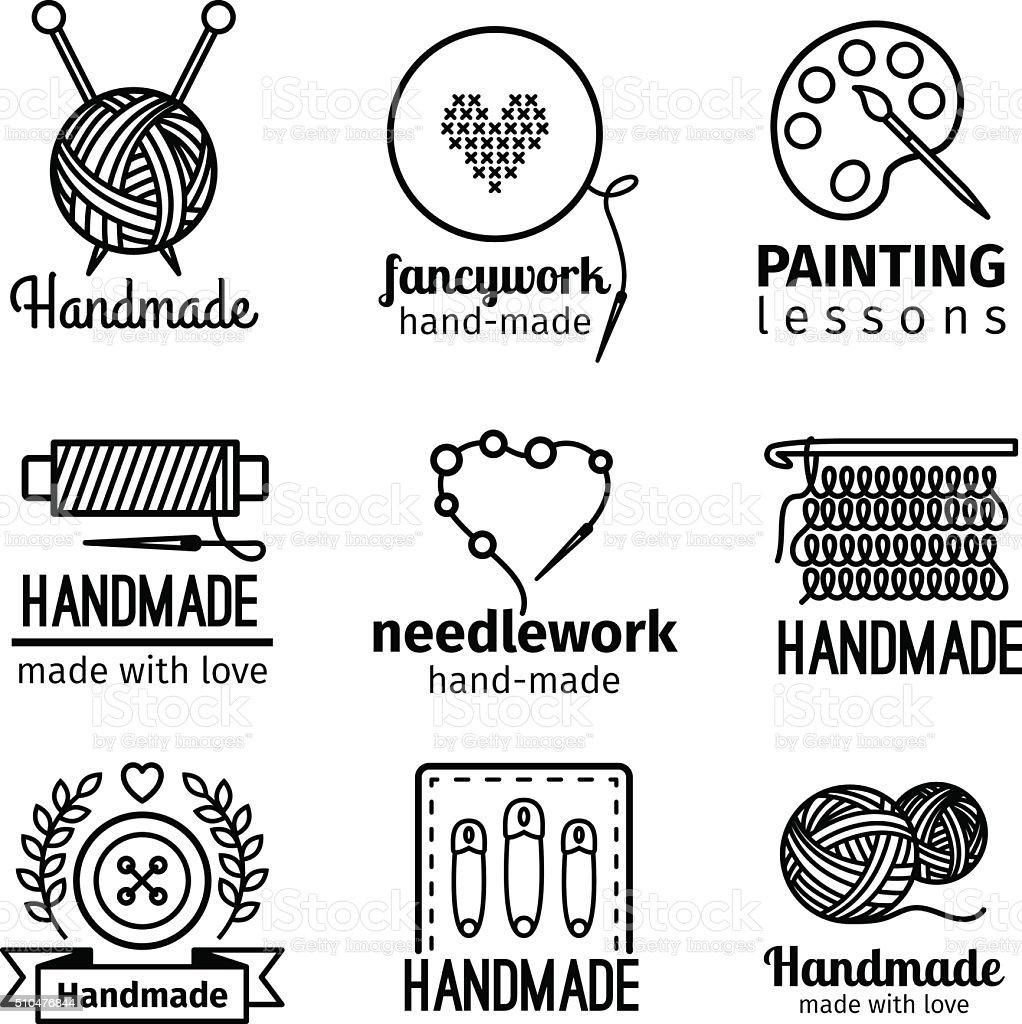 Handmade workshop thin line logo set vector art illustration
