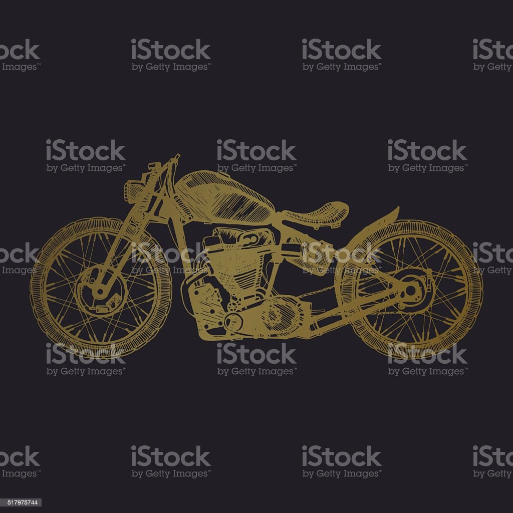 hand-painted motorcycle and lettering vector art illustration