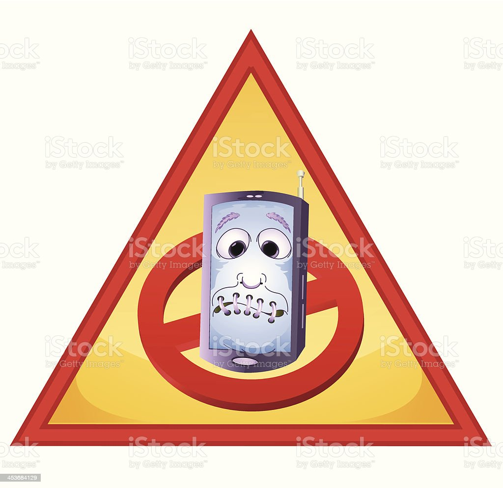 handphone inside red triangle royalty-free stock vector art