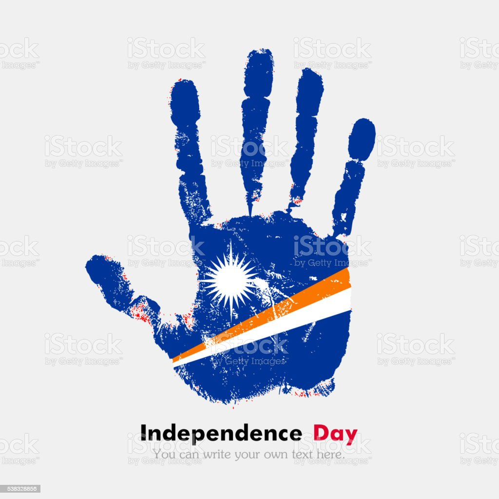 Handprint with the Flag of Marshall Islands in grunge style vector art illustration