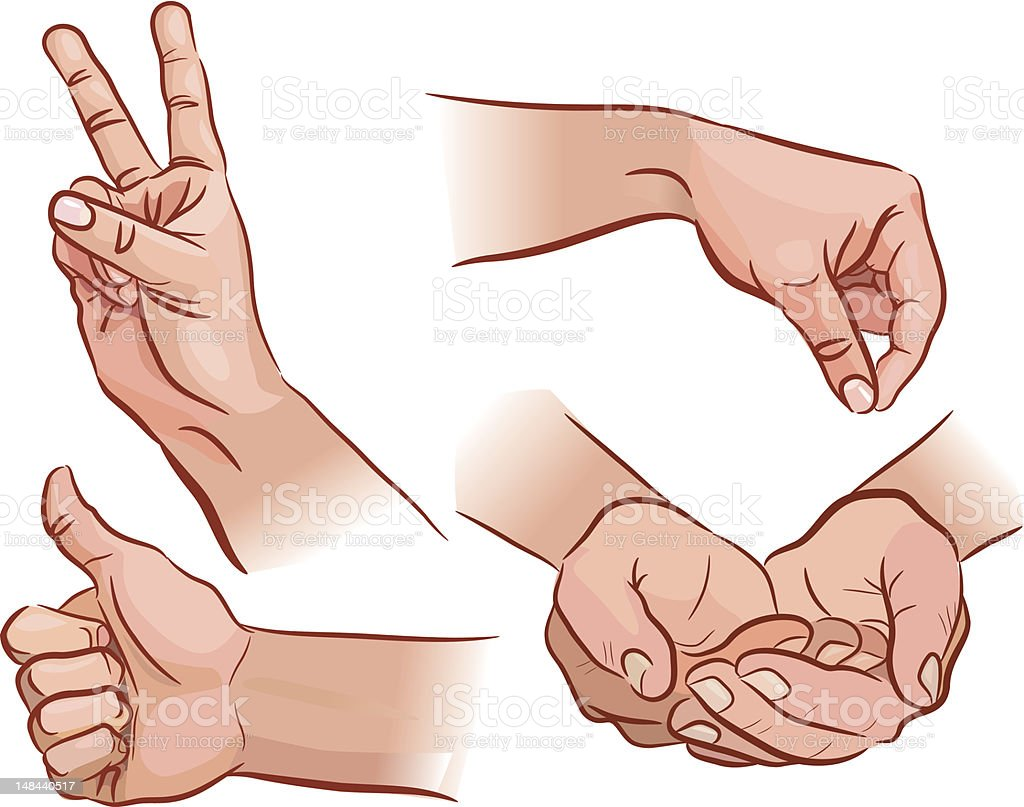 Hands and gestures vector art illustration