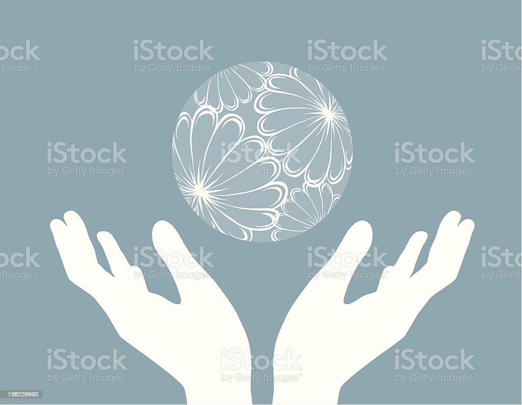 hands and globe vector art illustration
