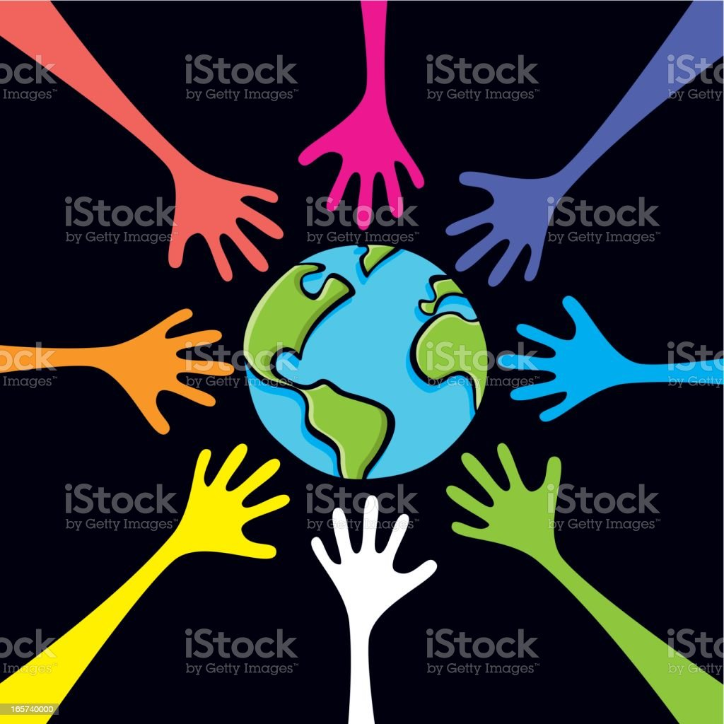 Hands around the world royalty-free stock vector art