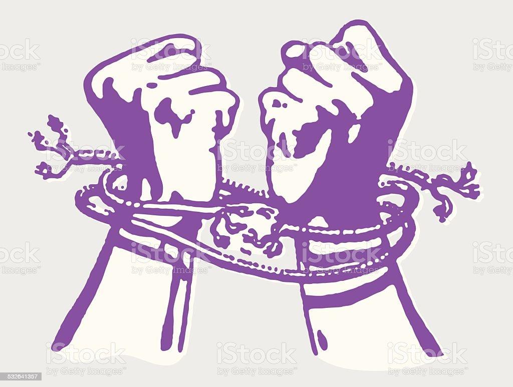 Hands Breaking Free from Rope Ties vector art illustration