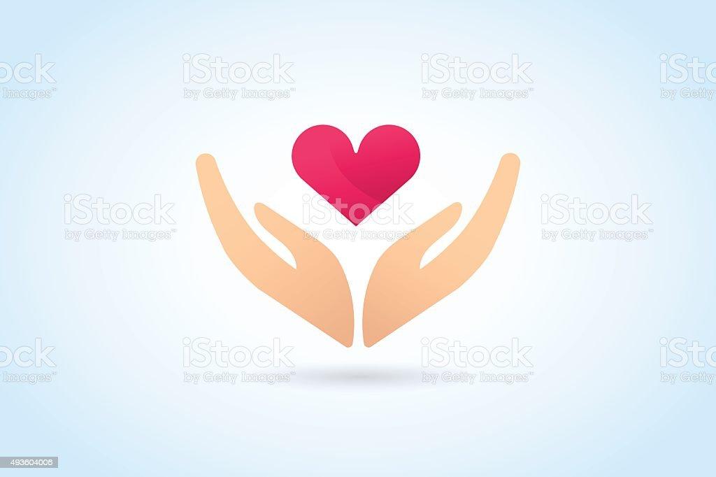 Hands care silhouette icon concept vector art illustration
