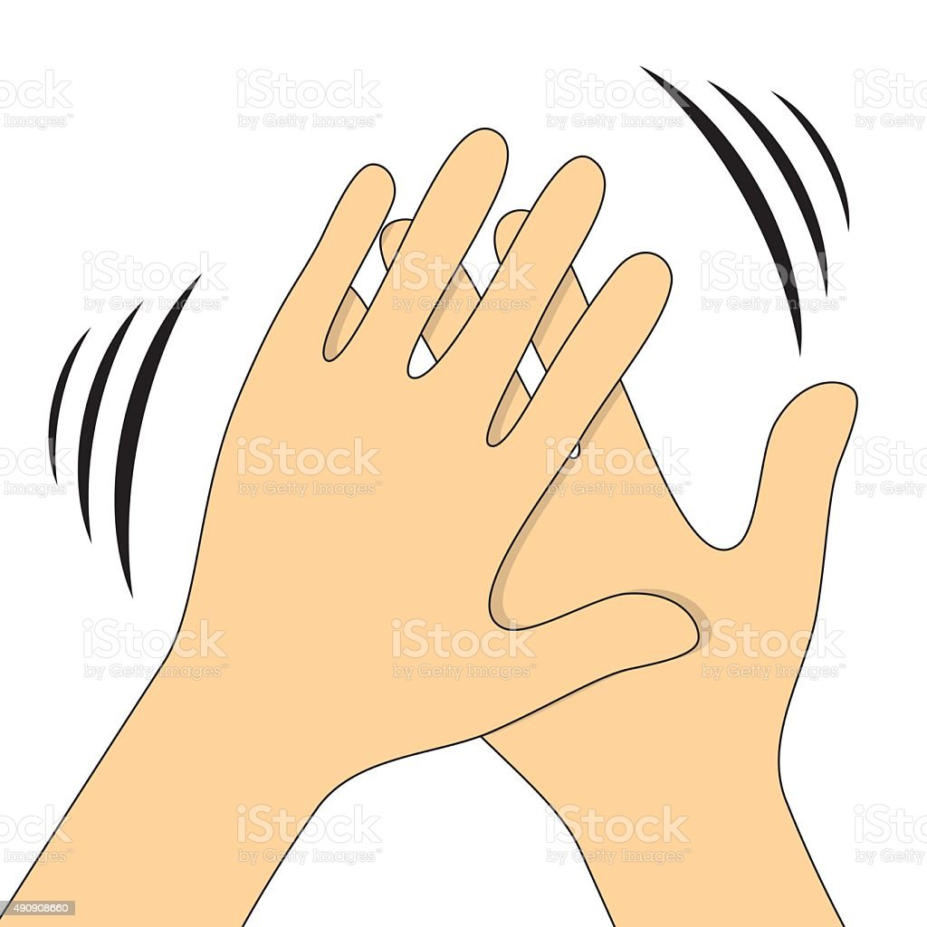 Hands clapping symbol. Vector icons for video, mobile apps vector art illustration