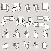 Hands collection tablets and mobile with touch-screen display