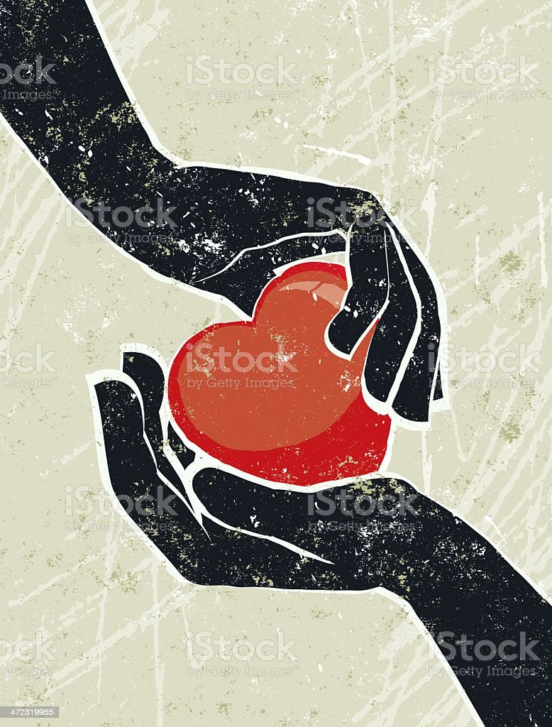 Hand's Cradling a Heart royalty-free stock vector art