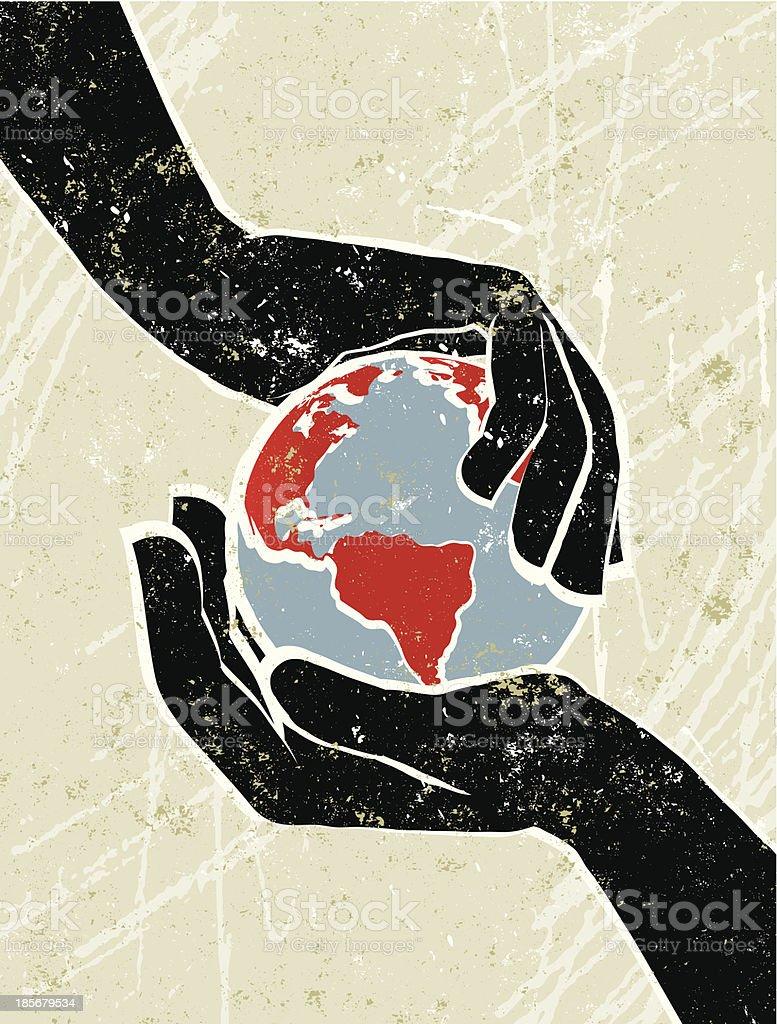 Hand's Cradling a World Map Globe vector art illustration