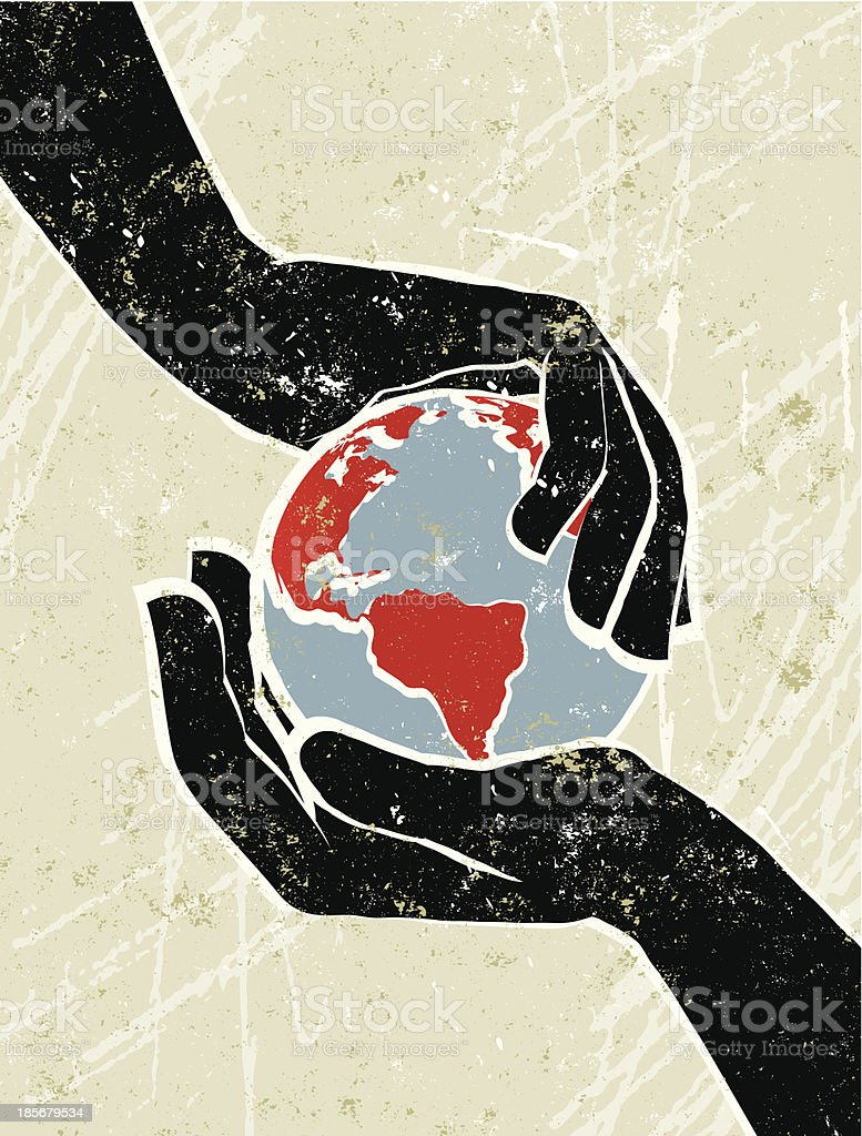 Hand's Cradling a World Map Globe vector art illustration
