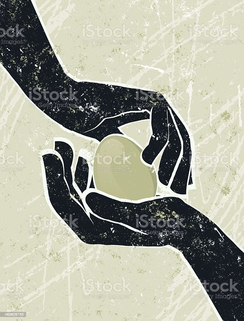 Hand's Cradling an Egg royalty-free stock vector art