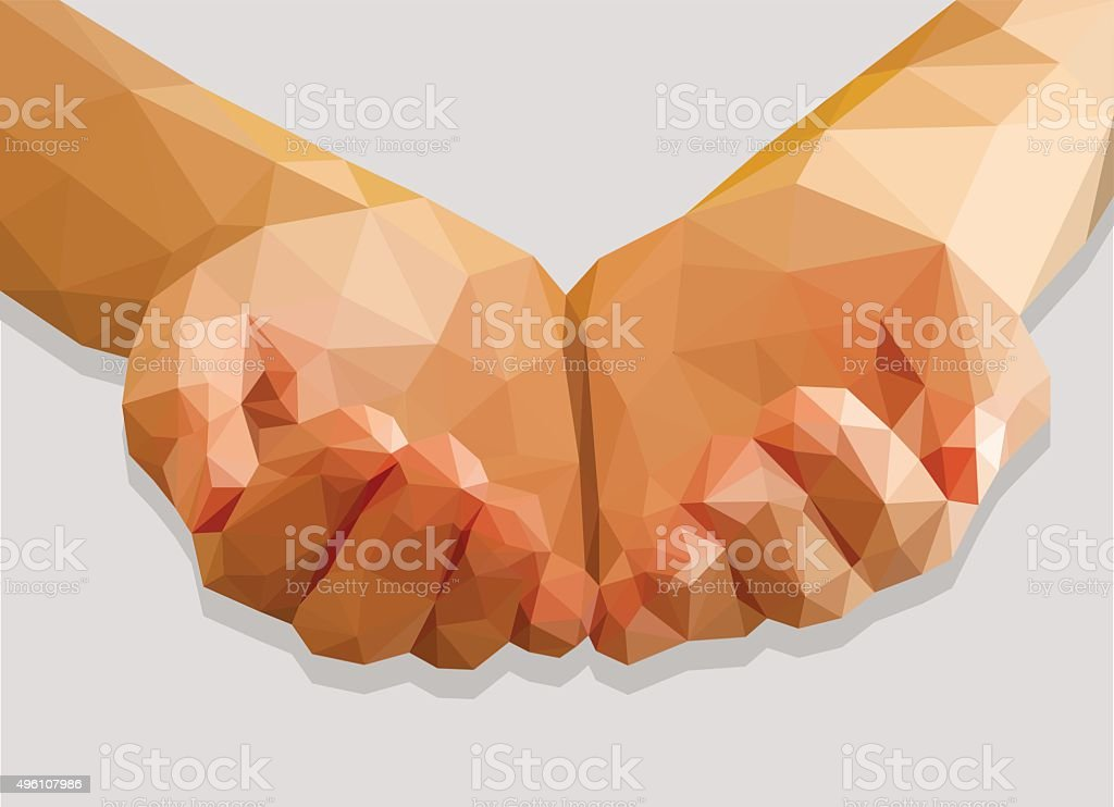 hands cupped empty polygon low poly isolated gray background vector art illustration