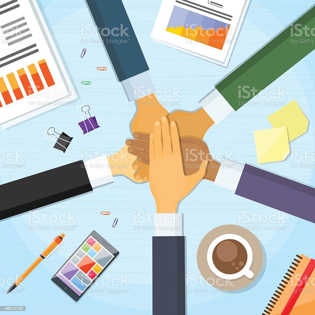 Hands Desk Team Leader Business People Pile Hand vector art illustration