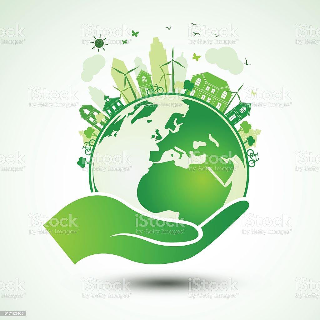 Hands earth vector art illustration