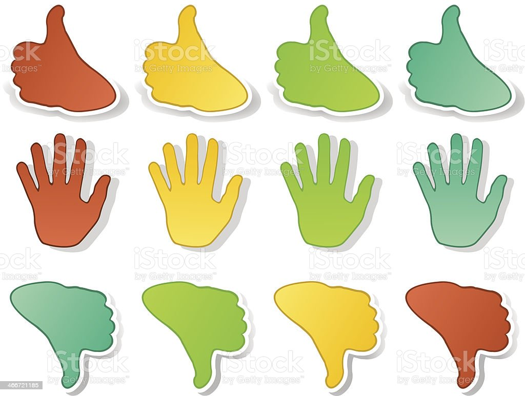 Hands expressions stickers royalty-free stock vector art