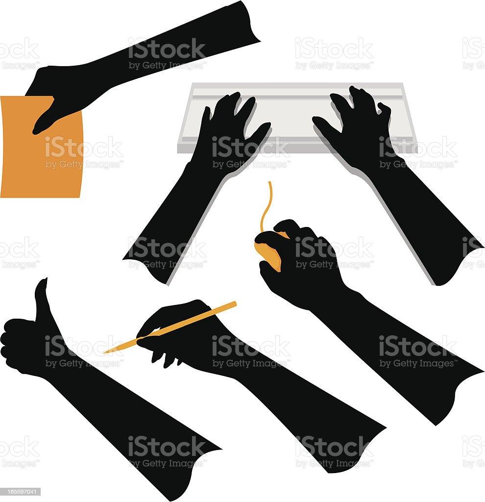 Hands Gestures vector art illustration