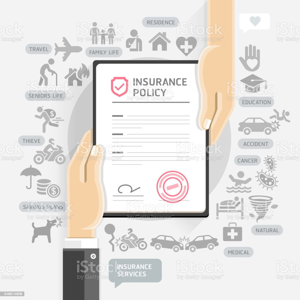 Hands give insurance document paper. vector art illustration