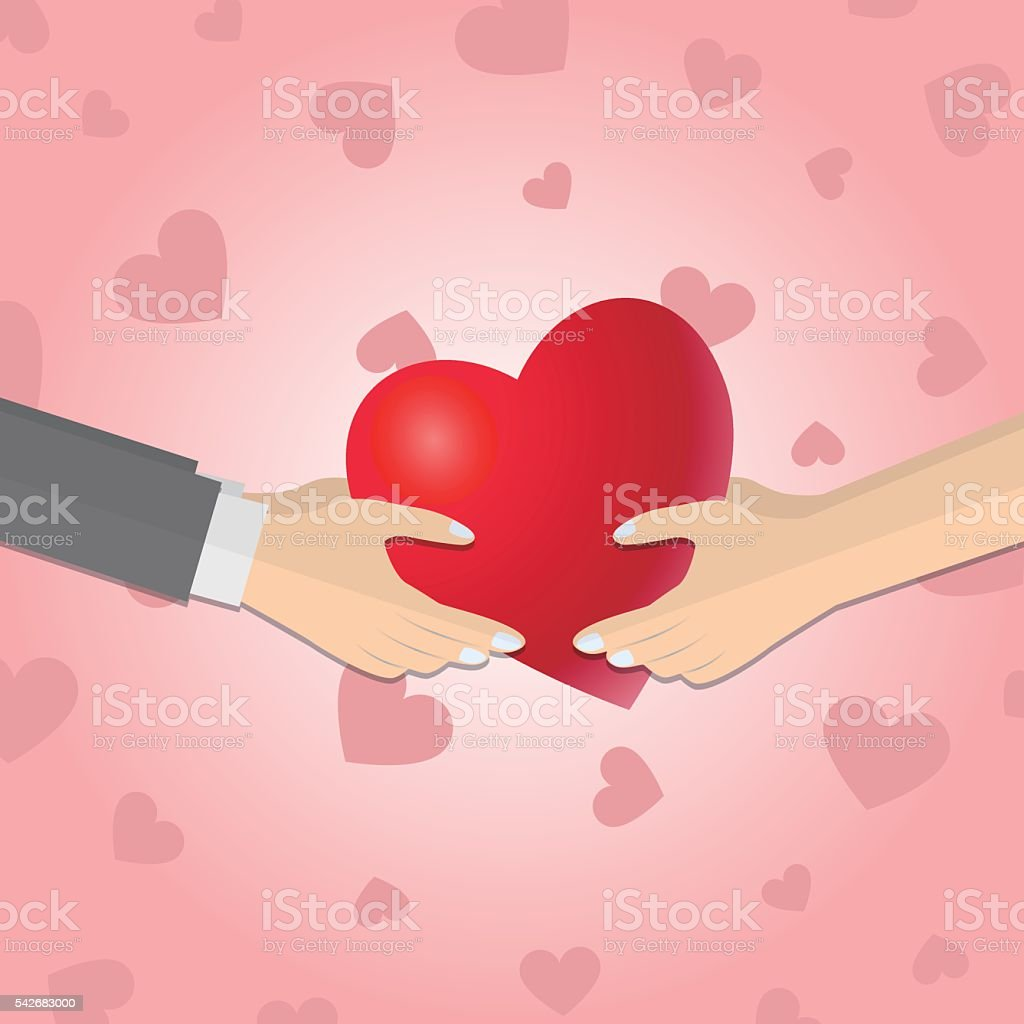 Hands giving a red heart vector art illustration