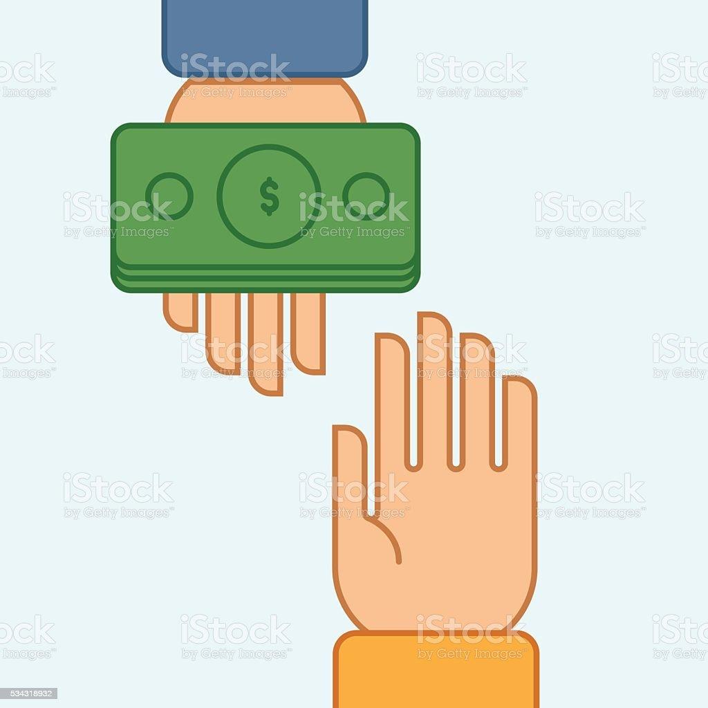 Hands giving and receiving money vector art illustration