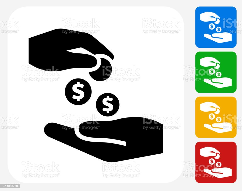 Hands Giving Money Icon Flat Graphic Design vector art illustration