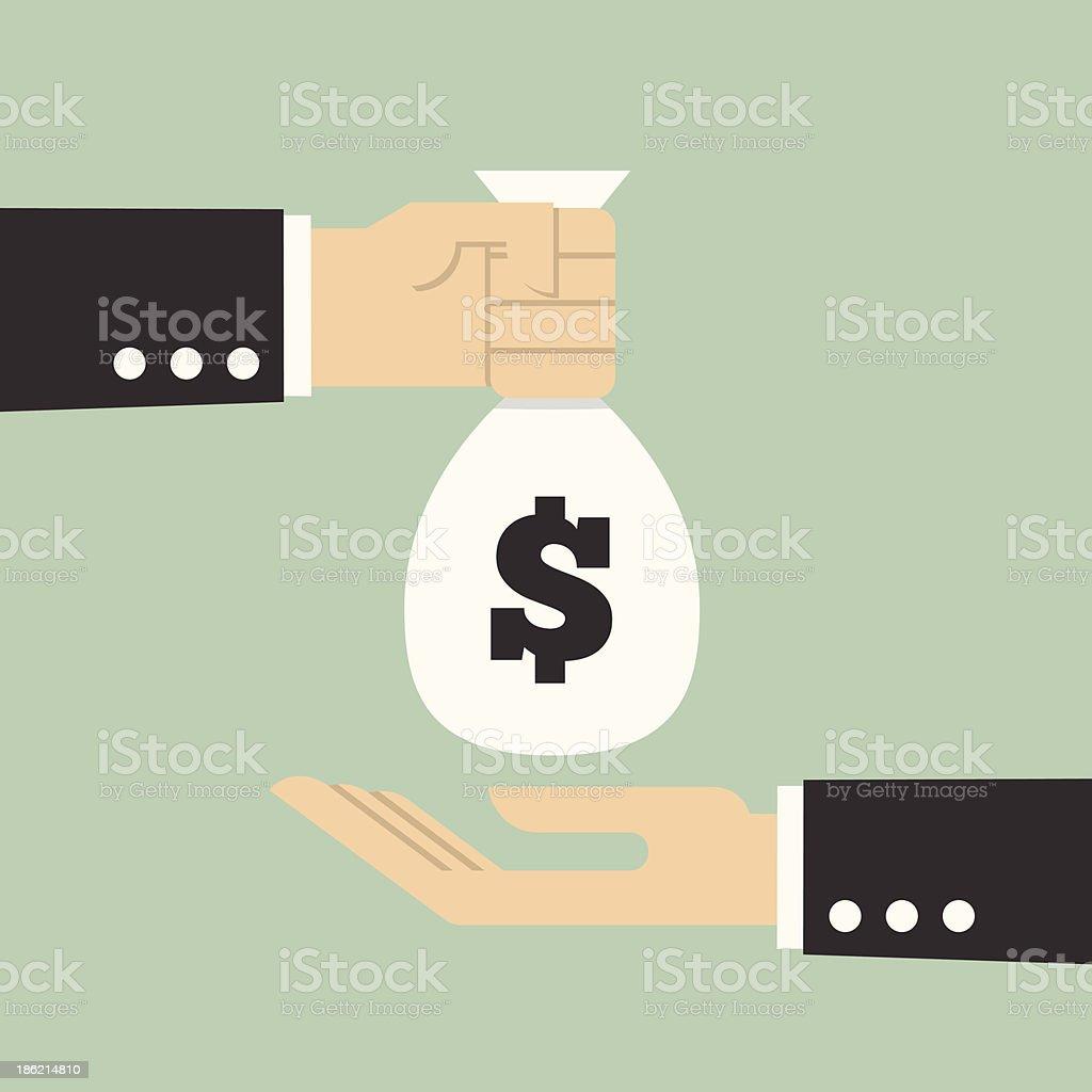 Hands Giving & Receiving Money vector art illustration