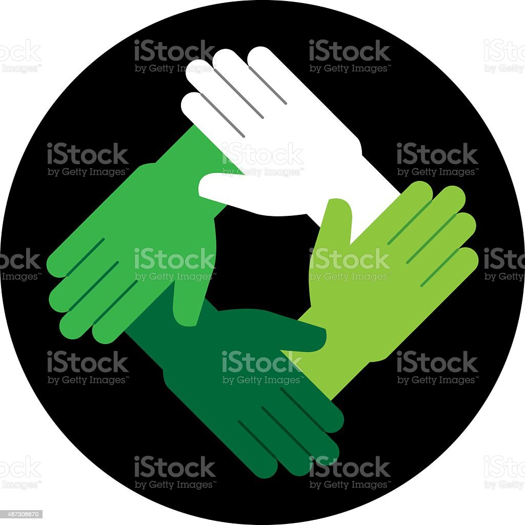 Hands Green Icon vector art illustration
