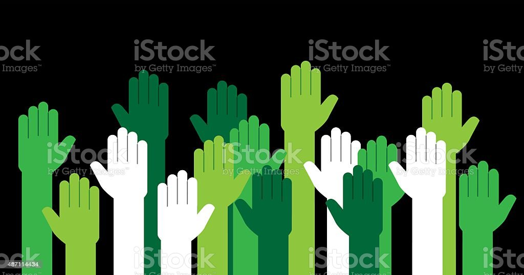 Hands Green Raised vector art illustration