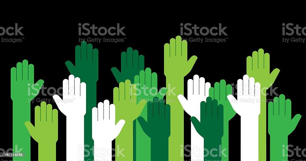 Hands Green Raised vector art illustration