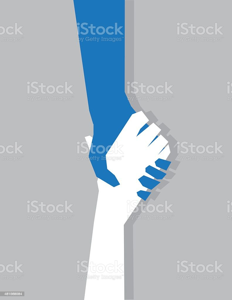 Hands Gripping Hanging on vector art illustration