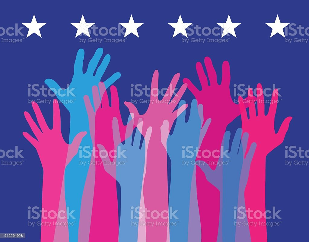 Hands Held High - USA elections vector art illustration