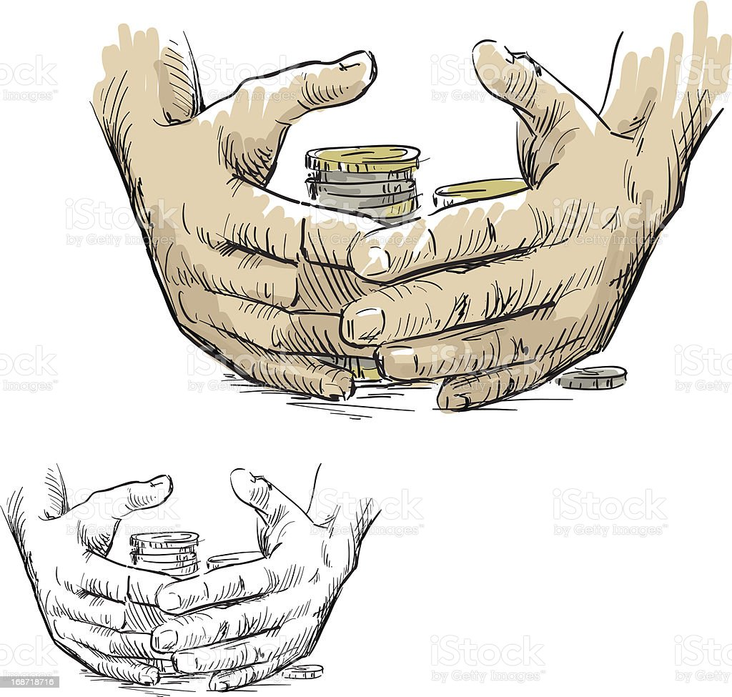 Hands hiding piles of coins royalty-free stock vector art