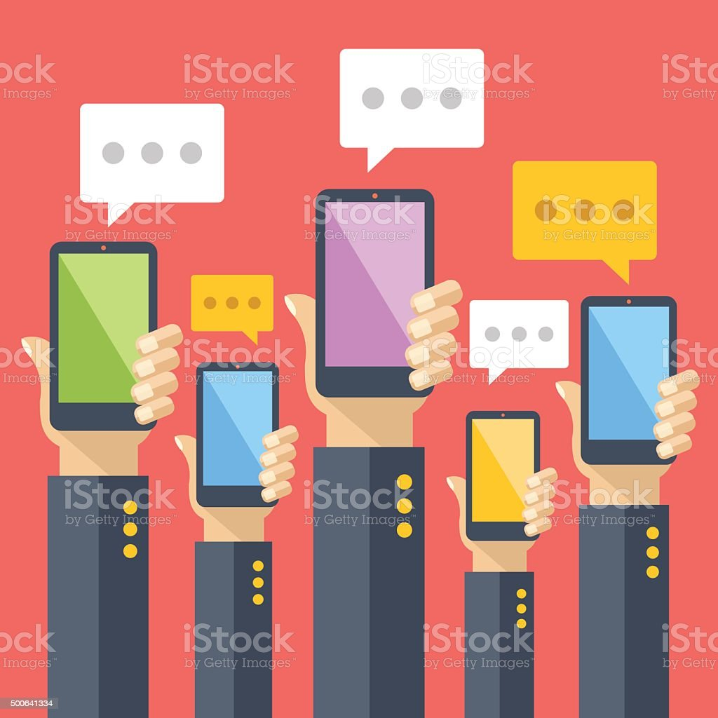 Hands hold smartphones with chat bubbles. Instant messaging, texting, sms vector art illustration