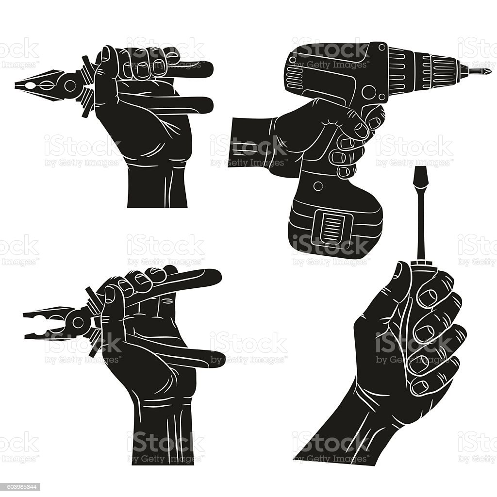 Hands hold tools. vector art illustration