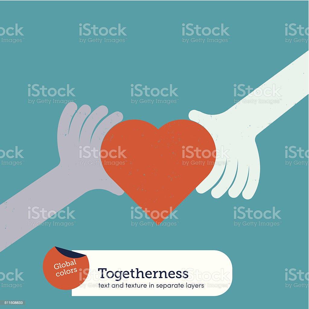 Hands holding a heart vector art illustration