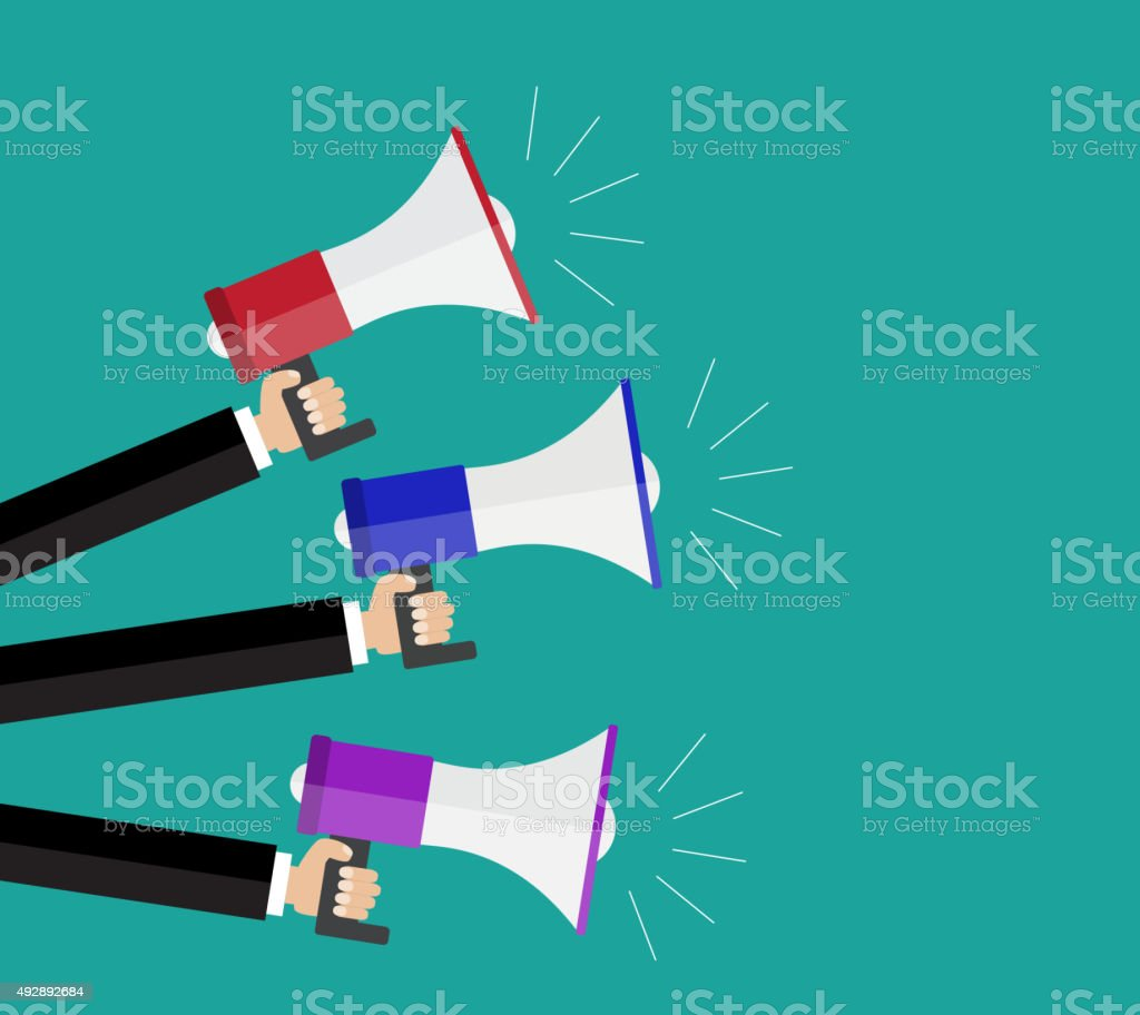 Hands holding a megaphones. vector art illustration