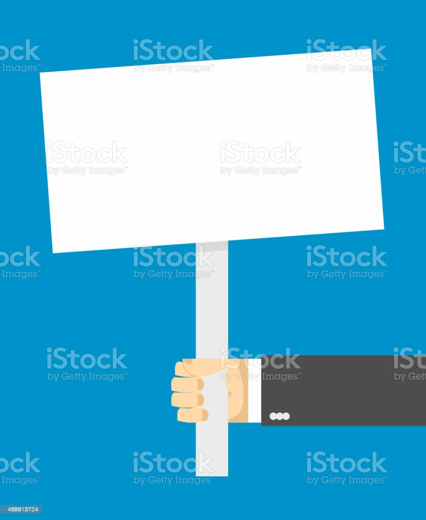 hands holding a white sign. vector art illustration