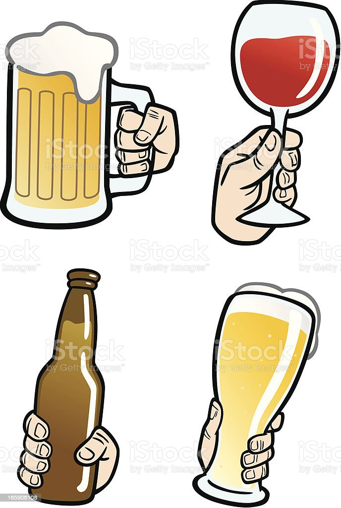 Hands Holding Beverages vector art illustration