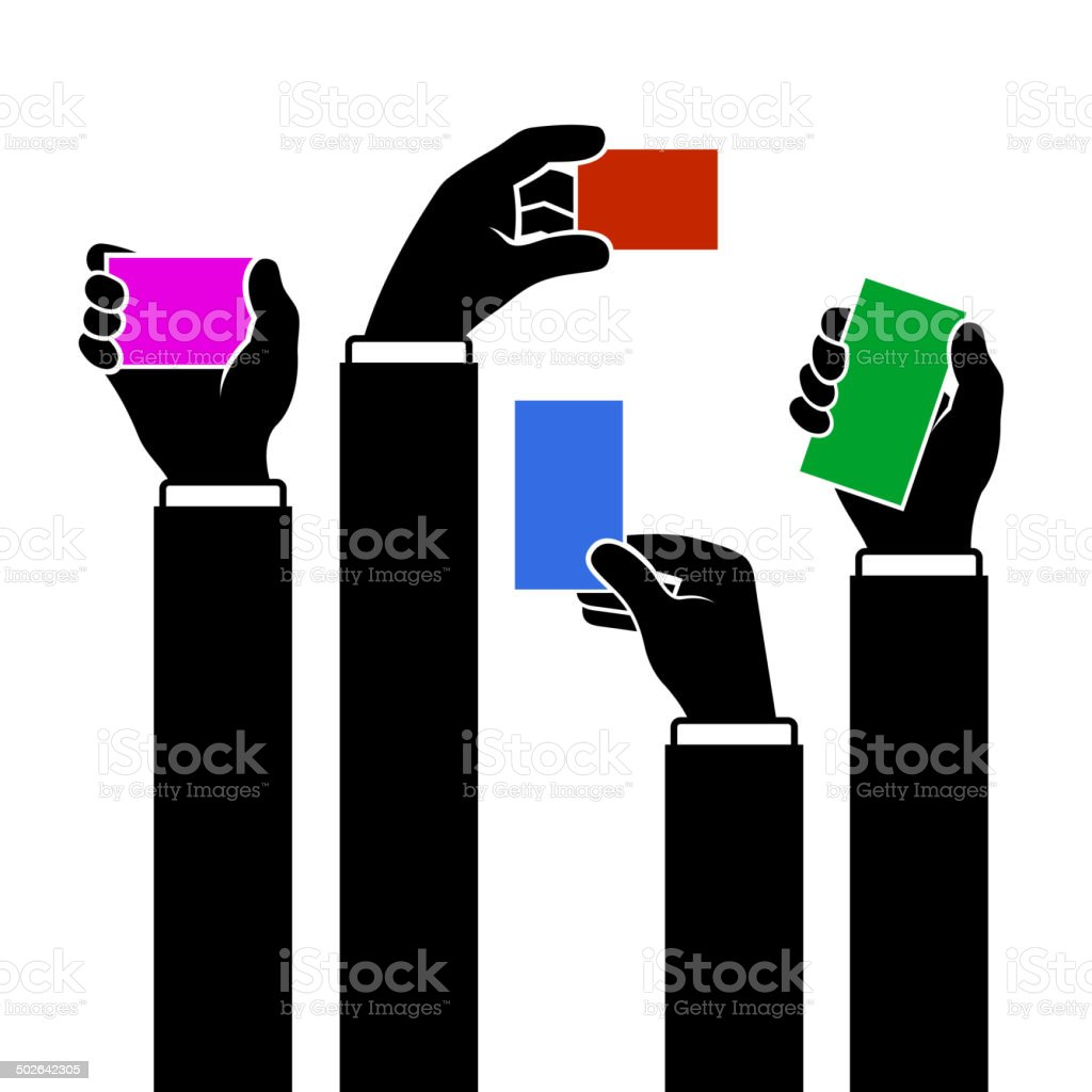 Hands Holding Blank Business Card, Vector royalty-free stock vector art
