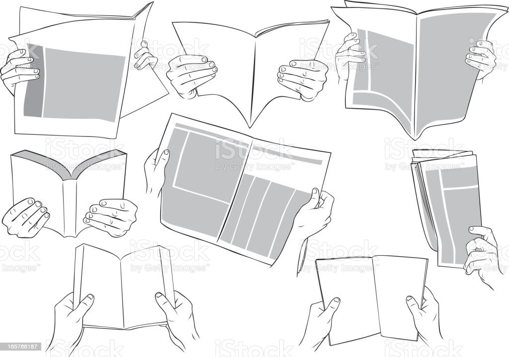 Hands holding books, magazines, newspapers and reading. royalty-free stock vector art