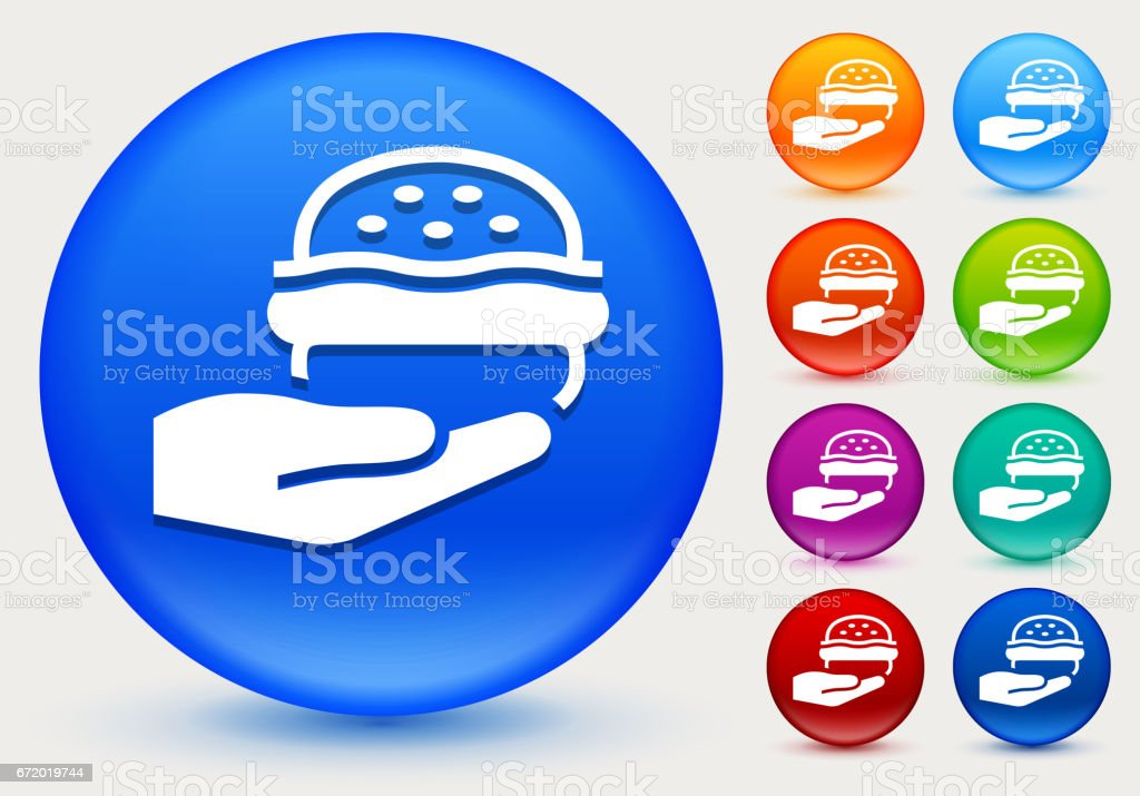 Hands Holding Burger Icon on Shiny Color Circle Buttons vector art illustration