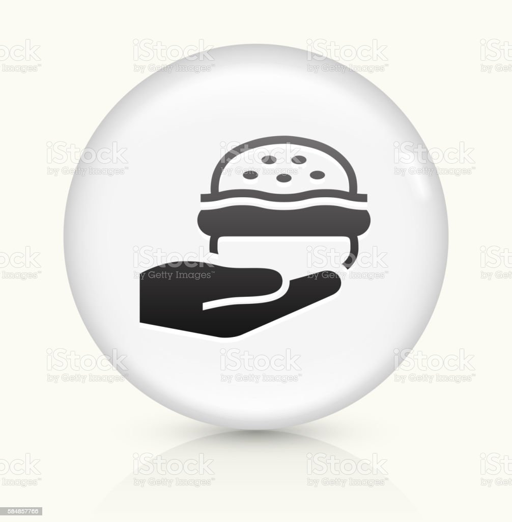Hands Holding Burger icon on white round vector button vector art illustration
